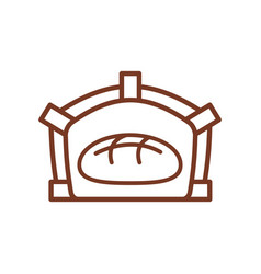 bread in oven line icon sign for production of vector image vector image