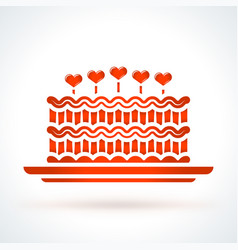cake with hearts st valentines day design element vector image vector image