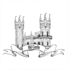castle logo retro building label vector image vector image