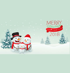 christmas snowman family banner design vector image vector image