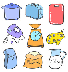 Collection stock kitchen accessories set vector