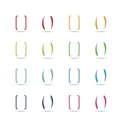 Color curly brackets braces set vector