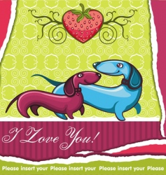 dachshunds Valentine's card vector image vector image