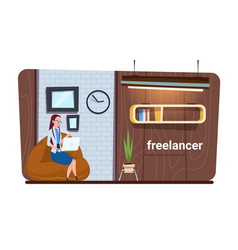 Female freelance worker using laptop computer work vector