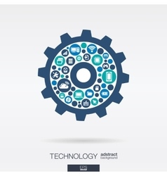 flat icons in cogwheel shape technology cloud vector image vector image