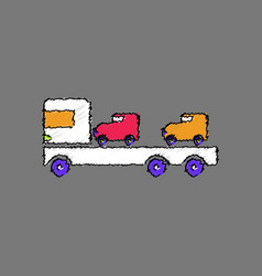 Flat shading style icon car carrier truck deliver vector