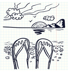Flip flop on the beach vector