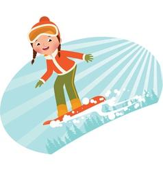 Girl on snowboard vector image