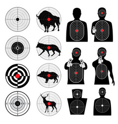 Gun shooting targets and aiming target silhouettes vector