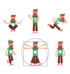 hipster geek stand run walk meditate new vector image vector image