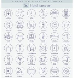 hotel outline icon set Elegant thin line vector image vector image