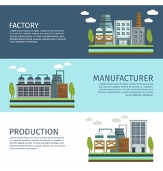 Industrial Buildings Horizontal Banners Set vector image