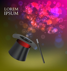 Magician top hat and stick with magic particles vector