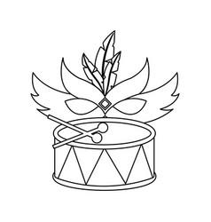 Mardi gras mask and drum festival celebration vector