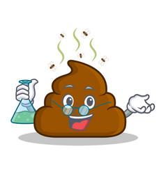 Professor poop emoticon character cartoon vector