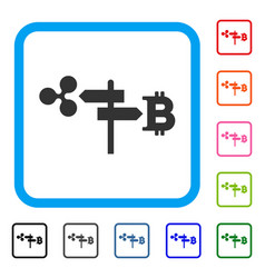 Ripple and bitcoin road pointer framed icon vector