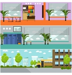 Set of school concept banners interior vector