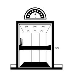 Silhouette open building elevator building door vector
