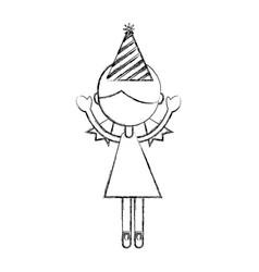 Sketch draw party girl cartoon vector
