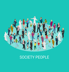 Society isometric background with people of vector