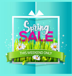 Spring sale banner on blue paper vector