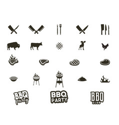 steak house and grill silhouette textured vector image vector image