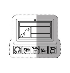Sticker silhouette tech laptop with icon apps vector