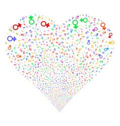 Venus symbol fireworks heart vector