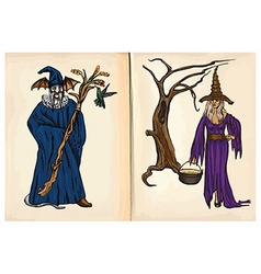 Witch and Wizard - hand drawings vector image vector image
