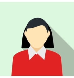 Woman in red pullover icon flat style vector