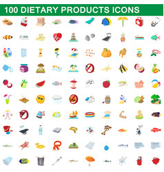 100 dietary products icons set cartoon style vector