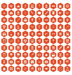 100 laboratory icons hexagon orange vector