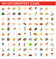 100 oktoberfest icons set isometric 3d style vector