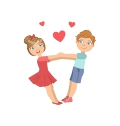 Boy and girl swinging with hearts around them vector