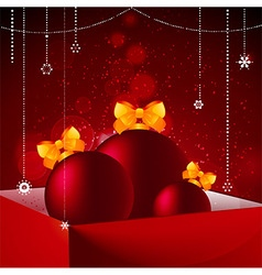 Gift box baubles and Christmas decorations vector image