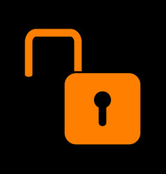 unlock sign  orange icon on black vector image