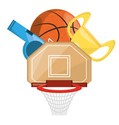 Basketbal trophy and win the competition game vector