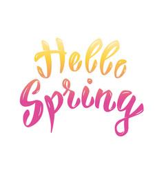 hello spring hand lettering phrase design element vector image