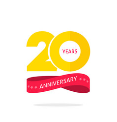 20 years anniversary logo template 20th vector image