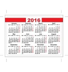 2016 pocket calendar Template grid Horizontal vector image vector image