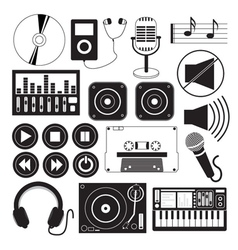 Digital music and icons theme vector