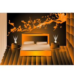Render night bedroom vector