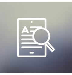 Tablet and magnifying glass searching network thin vector