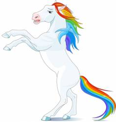 rainbow horse vector image