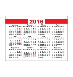 2016 pocket calendar template grid horizontal vector