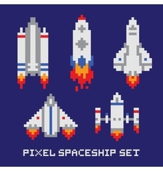 Pixel art spaceship isolated set vector