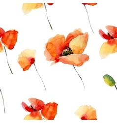 Watercolor flowers seamless pattern with poppies vector