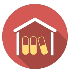 Drugs garage flat round icon with long shadow vector