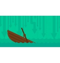 Background of sinking boat and arrows moving down vector
