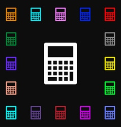 Calculator icon sign lots of colorful symbols for vector